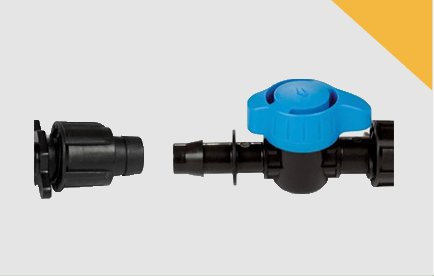 Válvulas y enlaces para cinta y tubo PVC